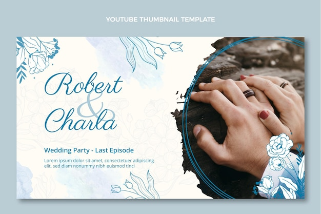 Aquarel handgetekende bruiloft youtube thumbnail