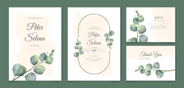 Aquarel handgetekende elegante minimale eucalyptus bladeren bruiloft uitnodiging set