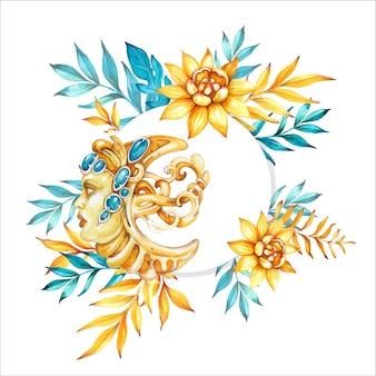 Aquarel handgetekende illustratie met decoratieve maan en bloemen