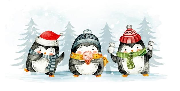 Aquarel handgetekende kerst pinguin banner