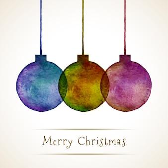 Aquarel handgetekende kerstballen, vectorillustratie