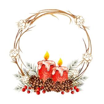 Aquarel handgetekende kerstkrans met kaars