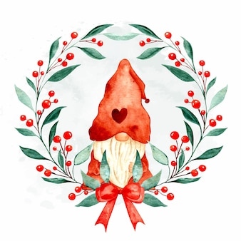 Aquarel handgetekende kerstkrans met kabouter