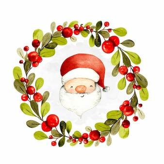 Aquarel handgetekende kerstkrans met santa