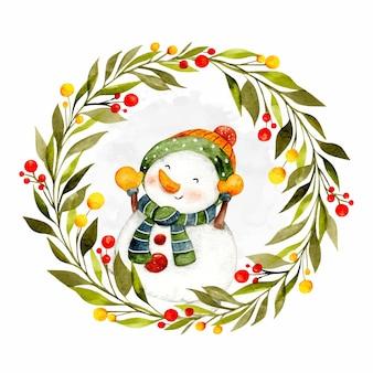 Aquarel handgetekende kerstkrans met sneeuwpop