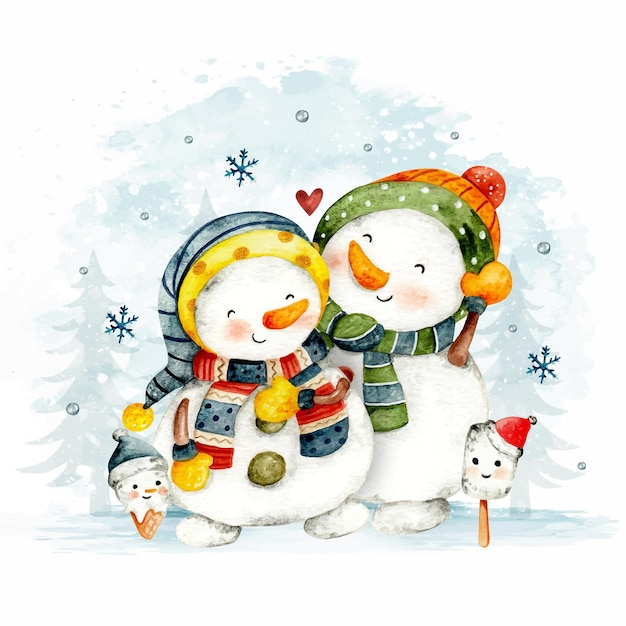 Aquarel handgetekende kerstpaar sneeuwpop