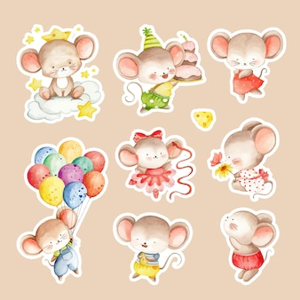 Aquarel handgetekende schattige muis sticker