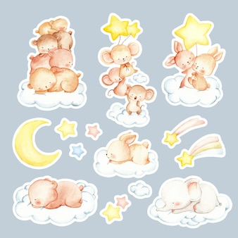 Aquarel handgetekende slaperige dieren sticker