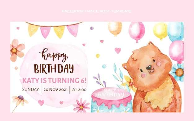 Aquarel handgetekende verjaardag facebook post