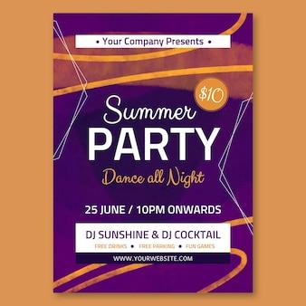 Aquarel handgetekende zomerfeestuitnodiging