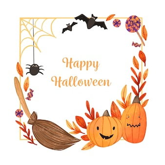 Aquarel happy halloween frame concept