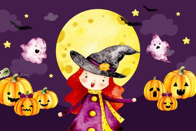 Aquarel happy halloween heks en pompoen achtergrond