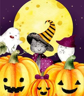 Aquarel happy halloween-kaart achtergrond