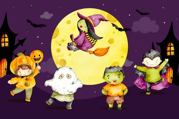 Aquarel happy halloween karakter achtergrond