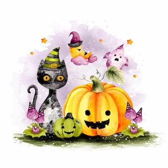 Aquarel happy halloween zwarte kat en pompoen