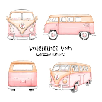 Aquarel happy valentijnsdag met schattige busje en valentijnsdag elementen