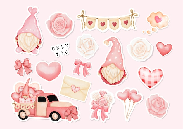 Aquarel happy valentine's day stickers met gnome en valentine's elements.