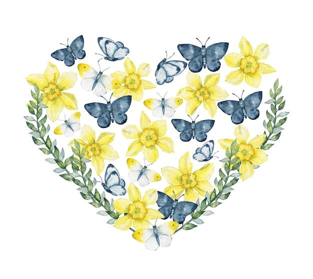 Aquarel hart van narcissen bloemen en vlinders bloemen hart samenstelling