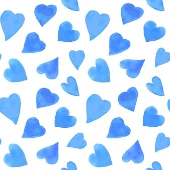 Aquarel harten naadloze patroon. valentijnsdag achtergrond herhalen