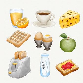 Aquarel heerlijk ontbijt Gratis Vector