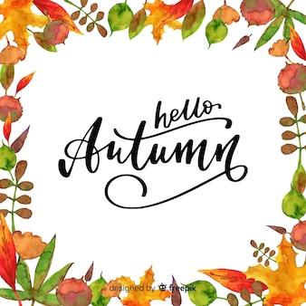 Aquarel hello herfst belettering achtergrond