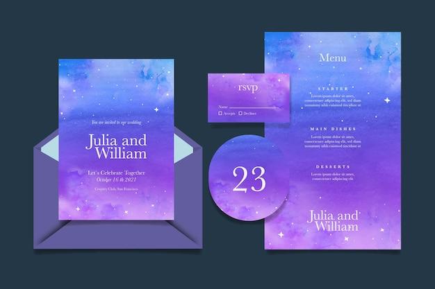 Aquarel hemelse bruiloft briefpapier collectie