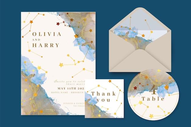 Aquarel hemelse bruiloft briefpapier set