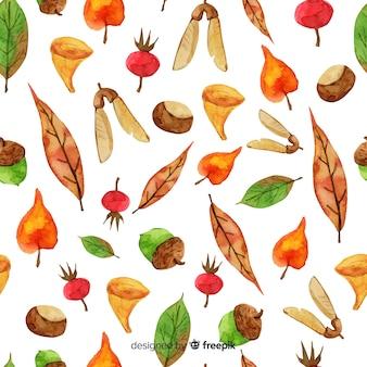 Aquarel herfst achtergrond met bladeren