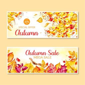 Aquarel herfst banners