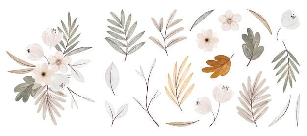 Aquarel herfst bloemen en bladeren collectie met boeket