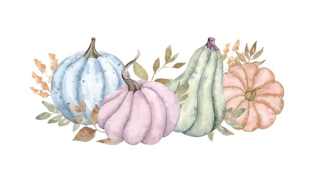Aquarel herfst compositie met blauw roze oranje en groene pompoenen