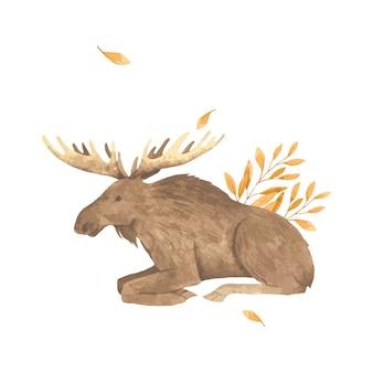 Aquarel herfst eland in bladeren.