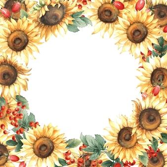 Aquarel herfst frame van zonnebloemen en rowan bessen.