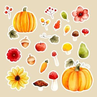 Aquarel herfst fruit bloem paddestoel plant sticker