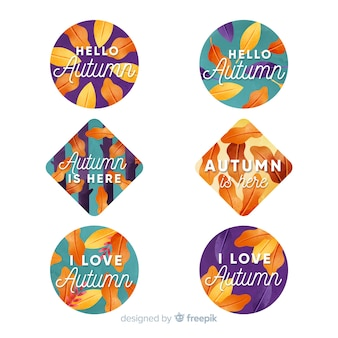 Aquarel herfst label en badge collectie