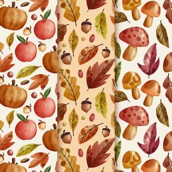 Aquarel herfst patronen collectie