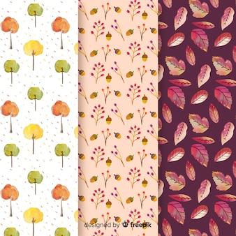 Aquarel herfst patroon collectie met bladeren