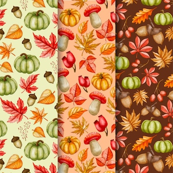 Aquarel herfst patroon collectie