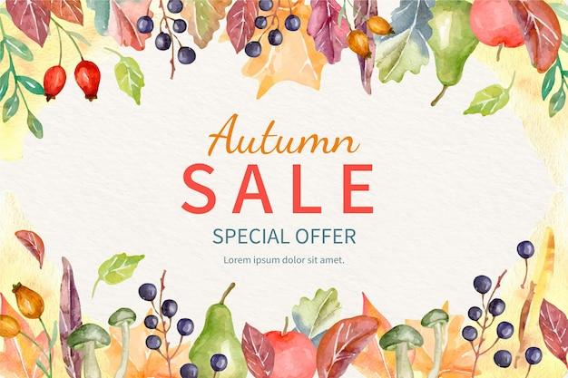 Aquarel herfst verkoop achtergrond