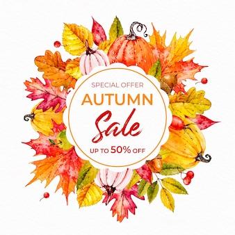 Aquarel herfst verkoop concept