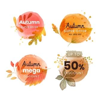 Aquarel herfst verkoop etiketten collectie
