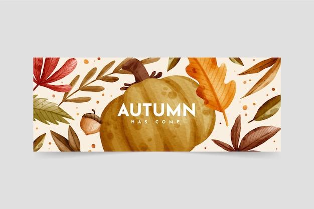 Aquarel herfstbanner met bladeren