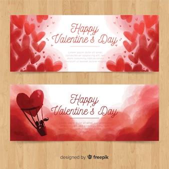 Aquarel hete lucht ballon valentijn banner