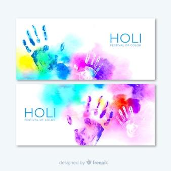 Aquarel holi festival banner