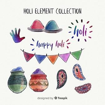 Aquarel holi festival elementen pack