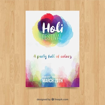 Aquarel holi festival poster