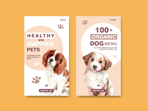 Aquarel hond advertentie banner sjabloon set