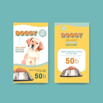 Aquarel hond advertentie banner sjabloon set