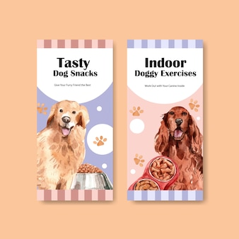 Aquarel hond advertentie folder sjabloon set
