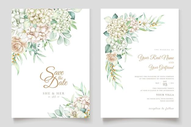 Aquarel hortensia bruiloft uitnodigingskaarten set